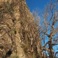 Ściana skalna Pico Ferreiro jakieś dwieście metrów pod szczytem, który jest omijany przez szlak. U stóp wybija małe źródełko, dzięki niemu można przeżyć upał w lutym...