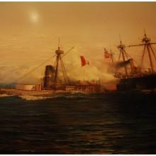 Muzeum historyczne w Santiago de Chile. Jedna z bitew w Wojnie o guano.