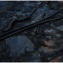 Krople które nie zwilżają tłustej od ropy powierzchni kamienia.