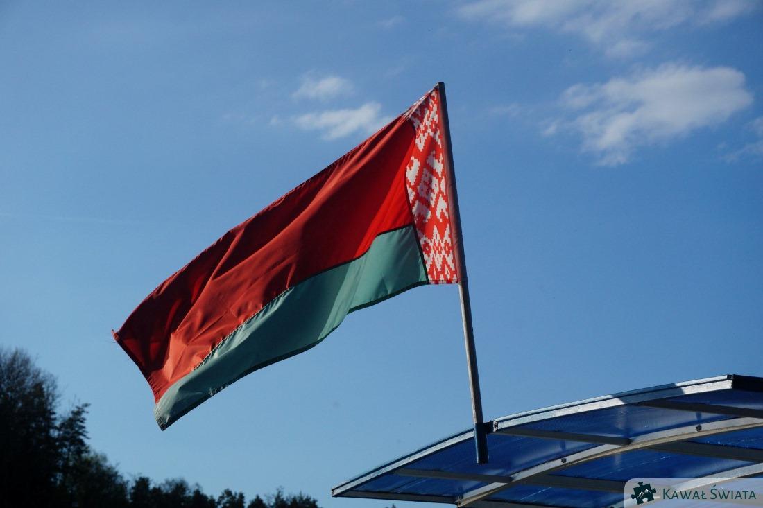Flaga Białorusi, która zastąpiła biało-czerwono-białą wersję w roku 1995.
